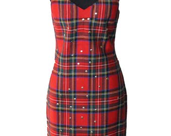 Vintage 1990's Dolce and Gabbana Studded Tartan Dress