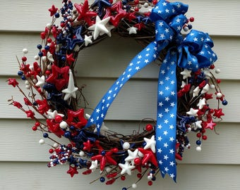 Fourth of July Red, White, and Blue Grapevine Wreath for Indoor / Outdoor Use