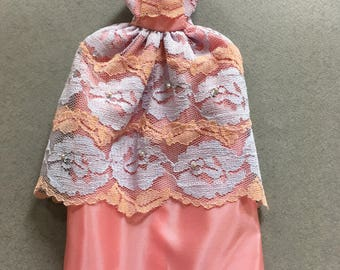 Vintage Handmade Barbie Pink Lace Gown