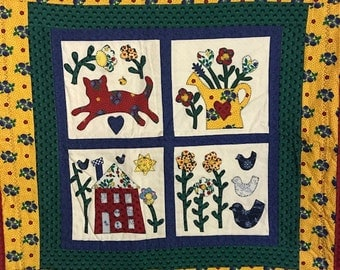 Applique Wall or Table Topper Quilt with Cat Flowers Home and Chickens