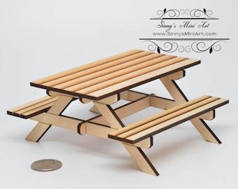 112 dollhouse miniature picnic table kit 1 inch scale table sma q002 - Picnic Table Kit