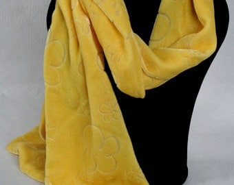 Daffodil Yellow Flowery Hand-Devored Silk Velvet Long Skinny Scarf Perfect Gift for Valentine's/Mother's Day/Birthday/Christmas