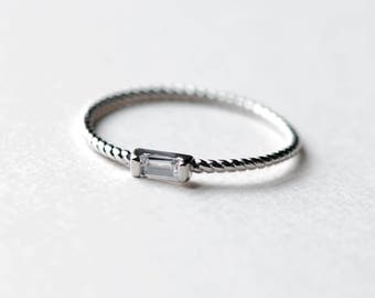 Sterling Silver Baguette Ring, Dainty Ring, Silver Ring, Stackable Ring, Thin Ring, Rope Ring