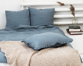 Grey blue linen pillow case with ruffles, stonewashed.