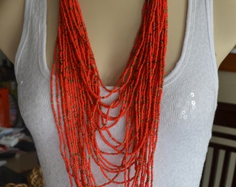 Coral / Orange & Bronze Seed Bead Wood bead Multi Strand Long Layered Necklace