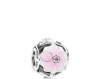Pandora Sterling Silver Magnolia Bloom with White and Pale Cerise Enamel & Pink CZ Charm # 792087PCZ