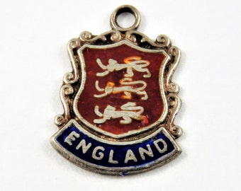 Enameled England Travel Shield Sterling Silver Pendant or Charm.