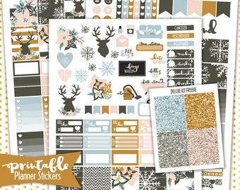 Winter Floral Deluxe Weekly Kit | PRINTABLE Planner Stickers | Pdf, Jpg, and Png Format | ECLP Vertical Planner Stickers