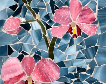The Orchid's Beauty: MADE TO ORDER Stained Glass Mosaic Outdoor Wall Decor