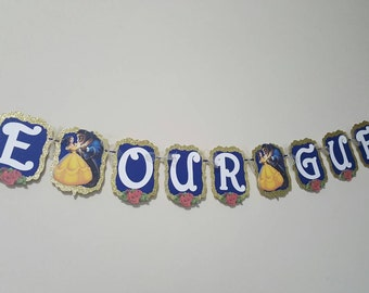 Be Our Guest Beauty and the Beast Banner / Gold Glitter / Elegant / Garland / Sign / Birthday Party Decorations / Party / Belle Party