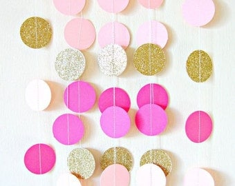 Pink and Gold Glitter Paper Circle Party Garland Decoration//6 Ft