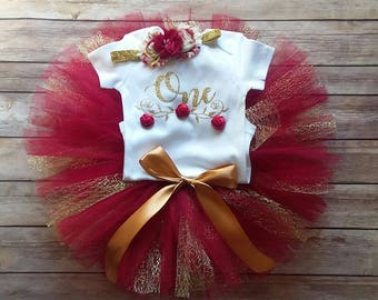 Burgundy 1st Birthday Girl Outfit CUSTOMIZABLE Outfit Girls First Birthday Outfit Floral Maroon Gold Cake Smash Photo Prop Personalize
