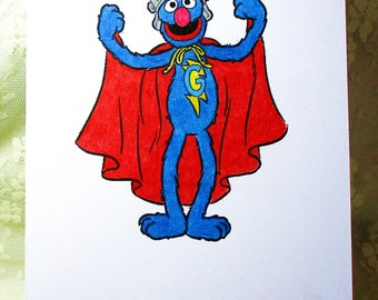 Super Grover Card : Add a Greeting or Leave Blank