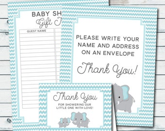 you cards envelope sign baby shower gift tracker blue elephant baby