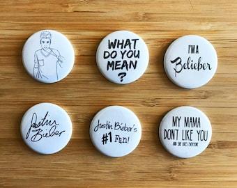 Justin Bieber Pinback Button Set, Justin Bieber Pins, Biebs Gift, Bieber Purpose, Belieber, Purpose Tour, Justin Bieber Birthday Gift
