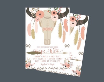 Boho Baby Shower Invitation, Floral Baby Shower Invitation, Bohemian Baby Shower Invitations, Boho Chic Baby Shower Invitations, Boho Baby