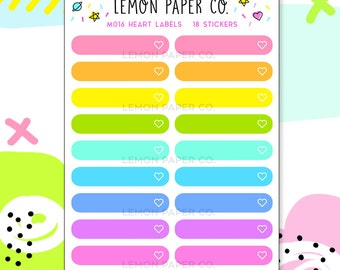 M016 Heart Labels // Planner Stickers