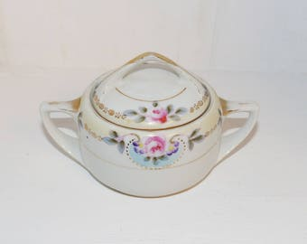 Antique Sugar Bowl, Hand painted Noritake Japan - 1242