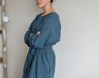 Pure linen dress - Ocean wave Linen dress - Dress with a belt -  Comfortable casual tunic / dress  - Loose dress with pockets