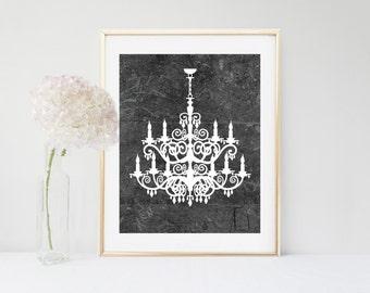 Chandelier Art Print, Digital Download, Chandelier Printable, Printable Art, Monochrome Art, Wall Art, Home Decor, Wall Decor