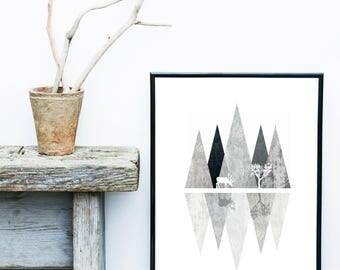 Grey Abstract Landscape, Modern Scandinavian Art, Nordic Print,  Abstract Art Print, Giclee print, Wall Art,  Poster, Wall Decor