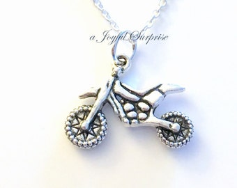 Dirt Bike Necklace for Boyfriend, Motorcycle Jewelry Gift Silver Motorcross charm Birthday present Man Men Teen Boy Teenage Teenager Guy Dad