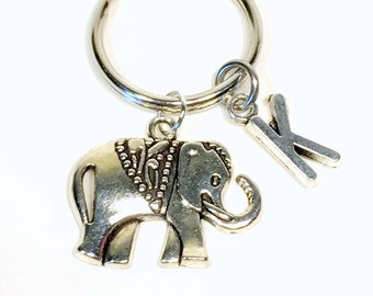 SALE - Custom Elephant Keychain, silver Elephant Key chain, Elephant Gift, Ancient Elephant Keyring, elephant gift with Initial  11