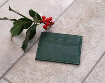 Fair Trade Real Leather Card Holder, Green Leather Card Holder, Real Leather Card Holder, Green Leather Card Case, Green leather mini wallet