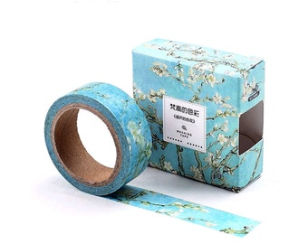 Almond Blossoms, Van Gogh Inspired Washi Tape, Blue Sky, White Floral, Deco Art Sticker Tape