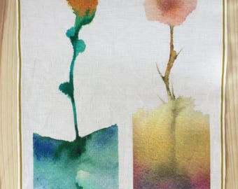 Wall decoration. Placemat. Dish towel. Digital printing of watercolor. Pure linen