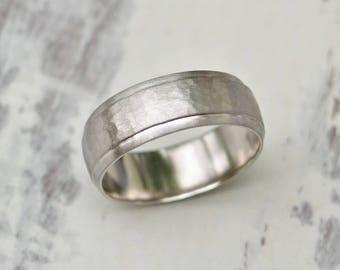 Palladium wedding ring - 950 palladium - Wide 6.7mm court ring - Hammered palladium ring - British jewellery - Unique wedding ring design
