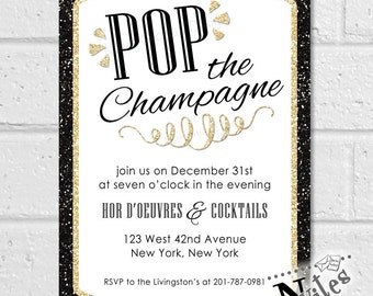 Champagne Invitation, Rehearsal Dinner Invitation, Rehearsal Dinner Party, Engagement Party, Cocktail Party, Pop the Champagne | PRINTABLE