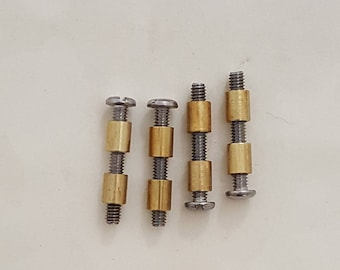 Knife handle threaded fasteners, 8 brass nuts and 4 stainless steel screws.