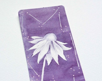 hand painted watercolor bookmark laminated paper bookmark white flower watercolor purple bookmark bookworm gift book lovers book accesories