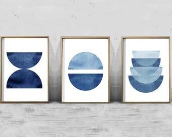 Blue Wall art Geometric Prints Set Triptych Minimalist art Abstract Watercolor Blue White Boho Home Decor Scandinavian Indigo Navy Wall art