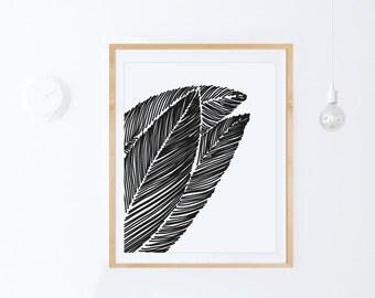 Leaf Wall Print-Instant Print-Modern Print-Black and White Wall Art, Printable Leaf Art, Scandinavian Decor, Leaf Printable-Downloadable Art