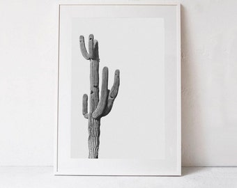 Modern Wall Art Print, Cactus PRINTABLE Art, Cactus Print, Black and White Photo, Living Room Art, Printable Photography DOWNLOADABLE PRINT