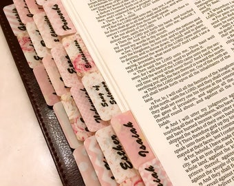 "STANDARD ""Peachy-Pinkie"" Multi-Hued Books of Bible Tabs by Victoria Anderson"