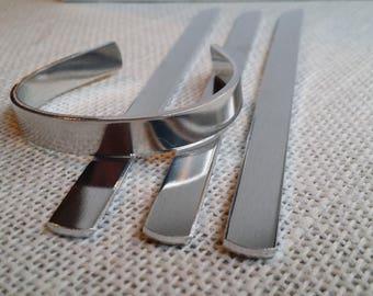 "100 Polished 3/8"" x 6"" 12 Gauge Bracelet Cuff Blanks Heavy Weight  Food Safe Aluminum- FLAT"