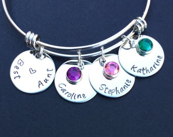 Gift for Aunt - Handstamped Mom or Grandma or Aunt Bracelet - Bangle Bracelet - Aunt Gift - Aunt Jewelry - Best Aunt- Personalized Aunt Gift