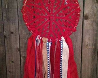 Americana Red, White, and Blue Doilie Dreamcatcher