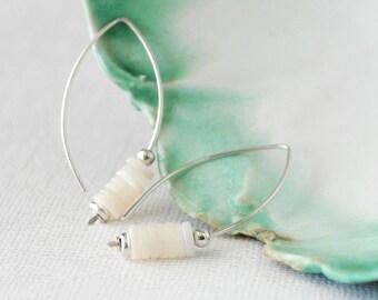 Sterling Silver Hoops, Silver Open Hoops, Pearl Earrings, Silver and Pearl Hoops, Pearl Hoops, Modern Bride Earrings, Modern Pearl Earrings