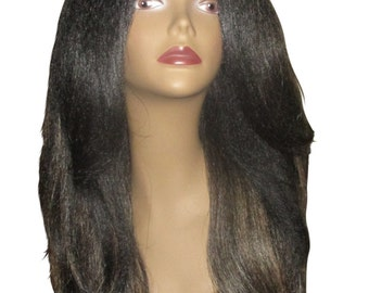 """Essence Wigs """"Rachel"""" Kinky Straight Italian Yaki Lacefront Wig Fawcett Layered Hair Black Dirty Blonde Highlights Lace Wig Natural Hair"""