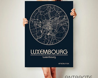 LUXEMBOURG CANVAS Map Luxembourg Poster City Map Luxembourg Art Print Luxembourg poster Luxembourg map art Poster Luxembourg map