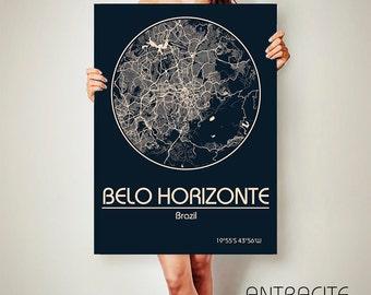 BELO HORIZONTE CANVAS Map Brazil Poster City Map Art Print Belo Horizonte poster Belo Horizonte map art Poster Belo Horizonte map