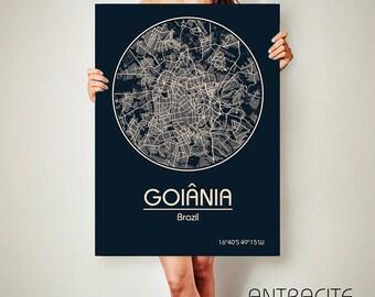 Goiânia Brazil CANVAS Map Goiânia Brazil Poster City Map Goiânia Brazil Art Print Goiânia Brazil