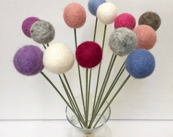 Pom Pom Flower / Felt Ball Flower / Billy Flower