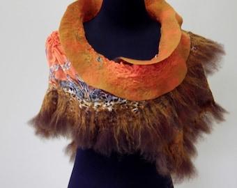 Nuno Felted Shawl, Hot Safari, Merino Fleece, Polyester Fabric, Women Scarf, Fashion Shawl, Shoulder Wrap, Gift for her, Hippie Style