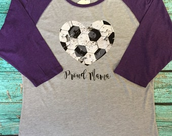 Ladies Proud Mama Distressed Soccer Heart Shirt