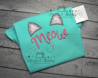 Girl's Kitty Cat Shirt/ Girl's Cat Shirt/ Girl's MEOW Shirt/ Girl's Cat Meow Shirt/ Girl's Cat face Shirt/ Girl's Kitty Face Shirt
